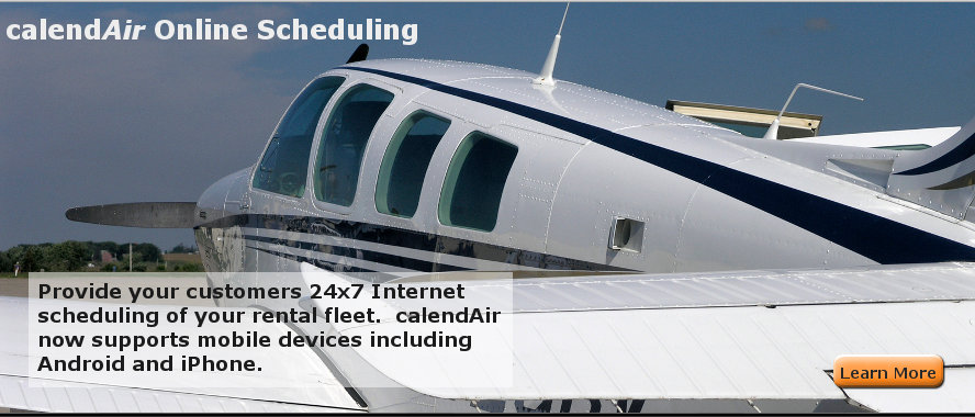 calendAir Online Scheduling - Provide your customers 24x7 Internet  scheduling of your rental fleet.  calendAir  now supports mobile devices including Android and iPhone.