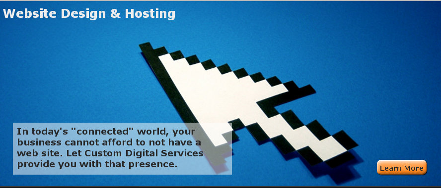 Website Design & Hosting - In today's connected world, your  business cannot afford to not have a  web site. Let Custom Digital Services  provide you with that presence.